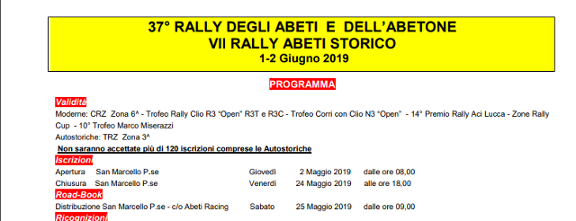 Programma del 37° Rally degli Abeti e VII Rally Abeti Storico